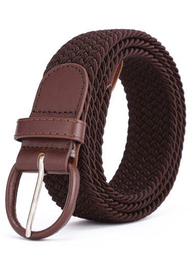 Men's Belt Solid Color Elastic Pin Buckled Woven Design Causal Belt Men's Belts Fashion Accessory