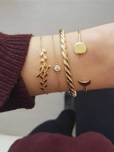 4 Pcs Women's Fashion Bracelet Set Leaf Design Opening Stylish Simple Solid Color Accessories Infinite Charming Jewelry Vintage