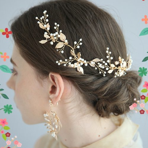 Women's Hair Comb Wedding Bride Leaf Elegant Casual Fashion Solid Color Hairbands Pearls