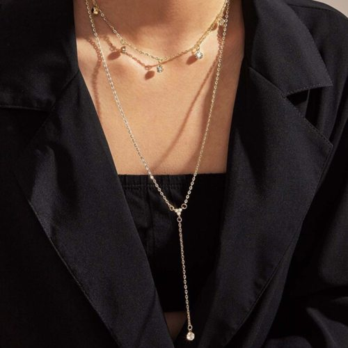 Women's Multi-Layer Necklace Fashion Simple Elegant Celebrity Fine Rhinestone Geometric Accessory