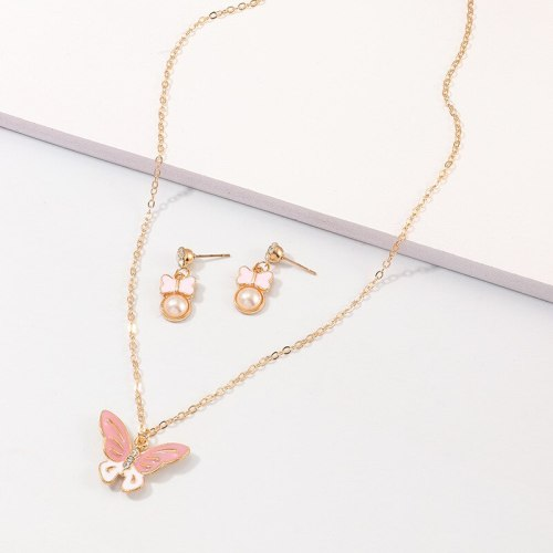 3 Pcs Women's Necklace & Earrings Butterfly Ladylike Trendy Top Fashion Vintage Pearls Geometric Accessory