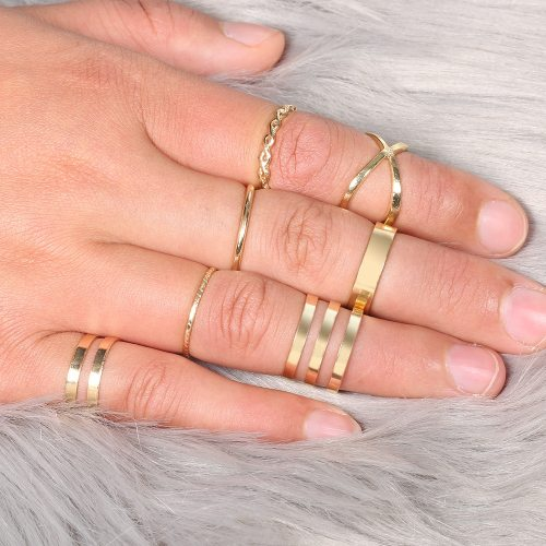 7Pcs Women's Ring Set Geometric Pattern Stylish Rings Accessories Vintage
