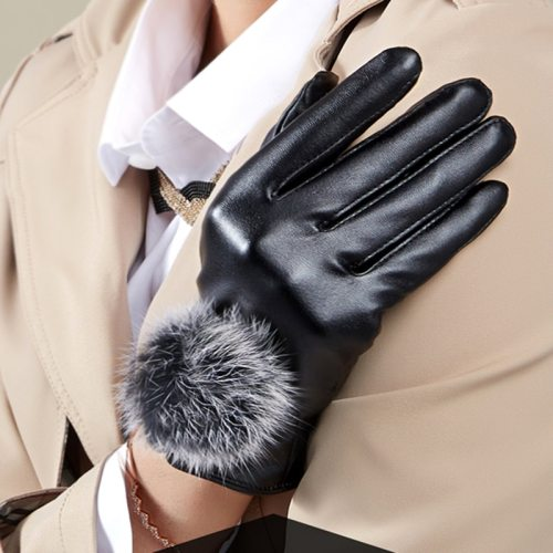 Women's Warm Gloves Comfy Fluffy Fashion Moiré Celebrity Hand wash Contrast Color Outdoor