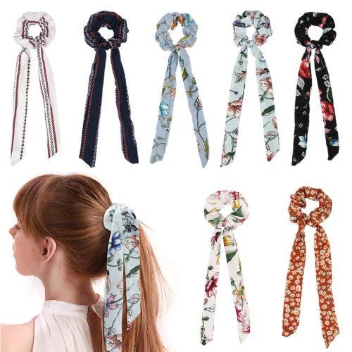 5 Pieces Women's Hair Elastics Retro Flower Bow Decor Cute Fashion Sweet Geometric Hair Accessories Flowers