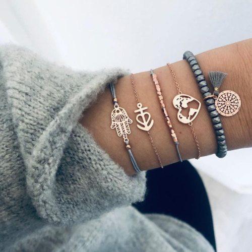 5 Pieces Women's Bracelets Heart Map Tassel Elegant Fashion Top Fashion Catenary/Necklace Solid Color Metal Decoration