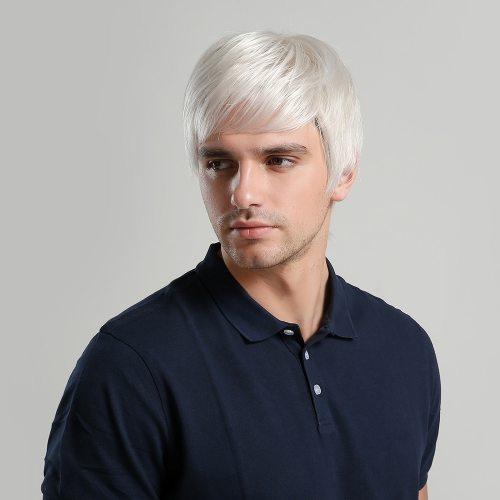 Men's Wig Short Hair White Handsome Wig Hand wash Top Fashion Straight Basic