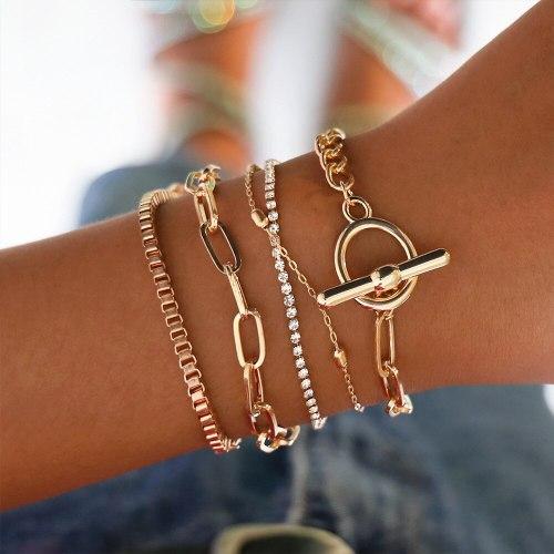 5 Pcs Women's Bracelets Creative Chic Bracelets Fashion Rhinestone Accessory Geometric Sweet