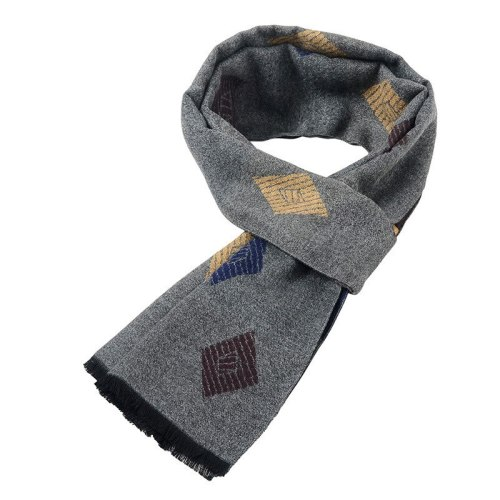 SAN VITALE Men's Scarf Comfy Warm Color Block Hand wash Top Fashion Geometric Winter Scarves Accessory Tassel