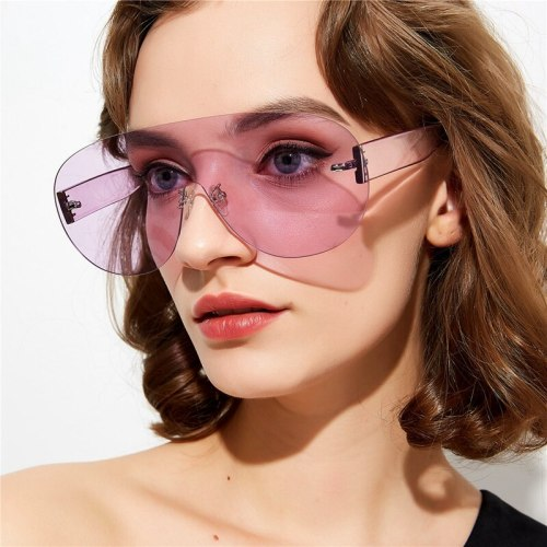 Women's All Match One-Piece Fashion Oversized Vintage Accessories Anti-UVA Wipe clean Round Shape Metal Decoration Solid Color Sunglasses zoravia