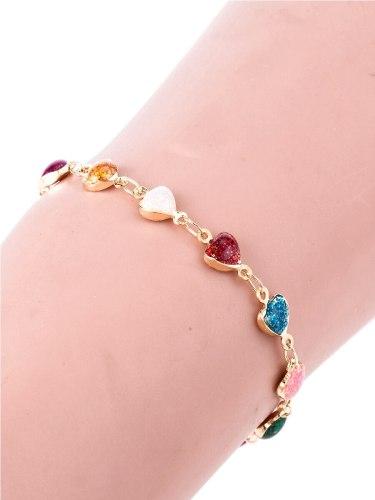 Women's Fashion Bracelet Heart Color Block Sequined Fancy Top Fashion Rhinestone Fine Accessories