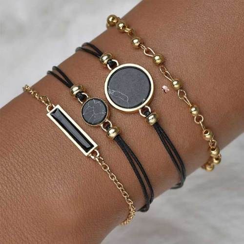 Women's 5 Pieces Fashion Watch & Bracelet Set All-Match Elegant Hasp Geometric Rhinestone Celebrity Women's Watches Genuine Leather Round Pointer