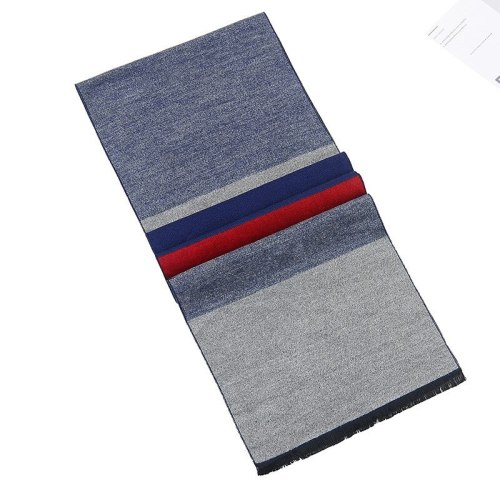 SAN VITALE Men's Scarf Brief Style Geometric Color Block Comfy Warm Scarves Tassel Casual Accessory Winter Scarves Hand wash Striped