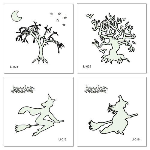 4 Pieces Women's Tattoo Stickers Fashion Tree Glow In Dark Water Proof Elegant Character Accessory Letter Cartoon Waterproof