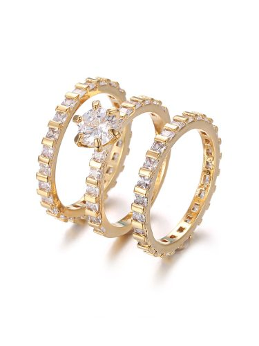 3Pcs Women's Fashion Rings Set Zircons Inlay Exquisite All Match Rings Fine Accessories