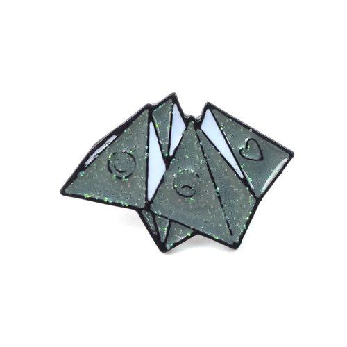 3 Pieces Women's Pins Cute Creative Origami Shape Plaid Metal Decoration Vintage