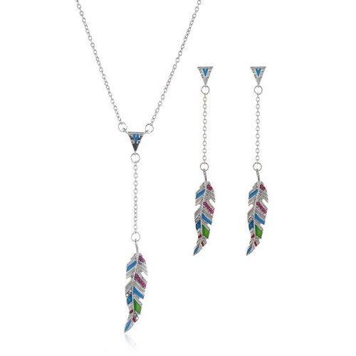 3Pcs Women's Necklace & Earring Set Elegant Tassel Jewelry Set Vintage Rhinestone Accessories Geometric