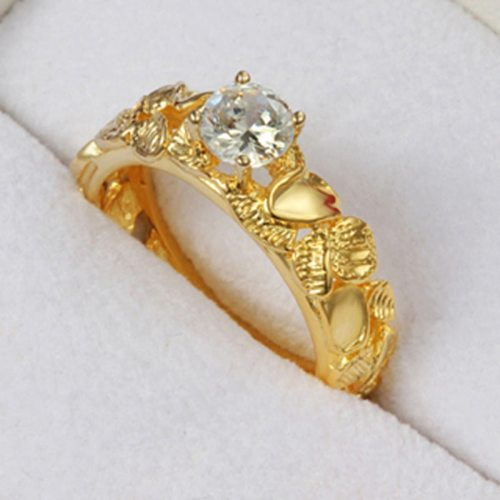 Lucky Doll Women's Fashion Ring Zircon Hollow Out Stylish Ring Basic Accessories
