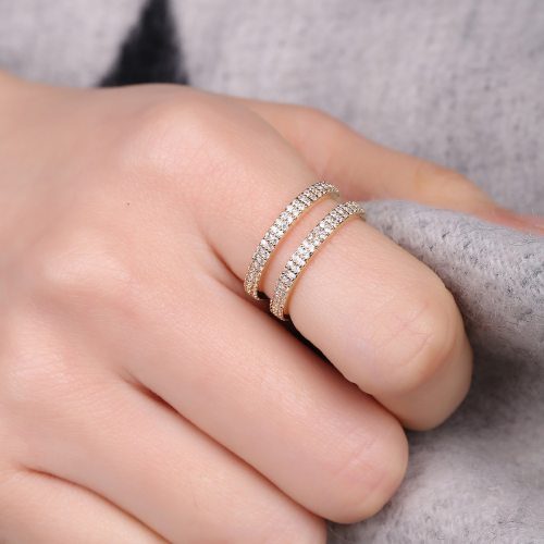 DE NOVO Women's Ring Zircon Opening Style Creative Design Ring Casual Hollow out Accessory Fine