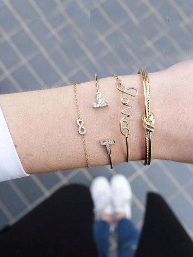 4 Pcs Women's Bracelet Set Solid Color Simple Design Fashion Bracelet Basic Accessories