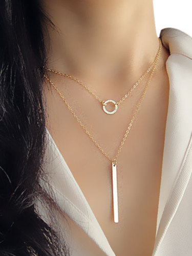 Fashion Layers Alloy Pendant Catenary/Necklace Basic This fashion look necklace leads basic sense with round shape pendant Adjustable length and The