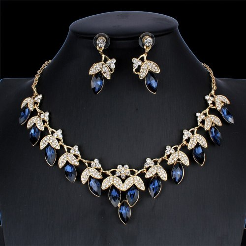 2 Pcs Women's Necklace & Earrings Set Elegant Wedding Jewelry Catenary/Necklace Vintage