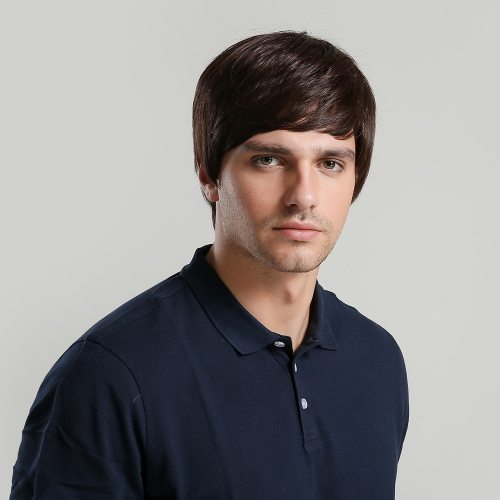 Men's Wig Short Straight Hair High Quality Wig Hand wash Basic Casual