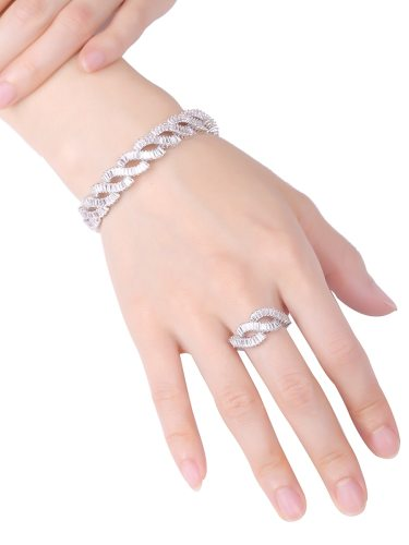 2 Pcs Women's Openings Bracelet & Ring Set Shiny Rhinestone Hollow Out Twisted Ring Bracelet Fine Accessory