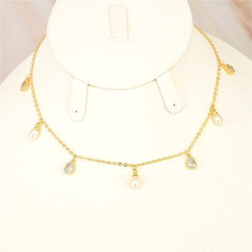 Women's With Pendant Collar Fashion Elegant Imitation Pearl All-Match Neck Chain Top Fashion Accessories Geometric Fine Infinite Charming Jewelry