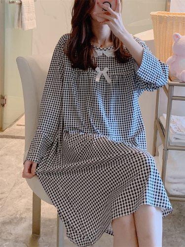 Women's Sleep Dress Long Sleeve Plaid Casual Home Midi Top Fashion Young Women Crew Neck