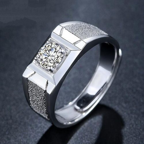 Rich Long Men's Ring Inlay Simple Design Ring fashion ring Solid Color Rhinestone Casual Fashion Catenary/Necklace