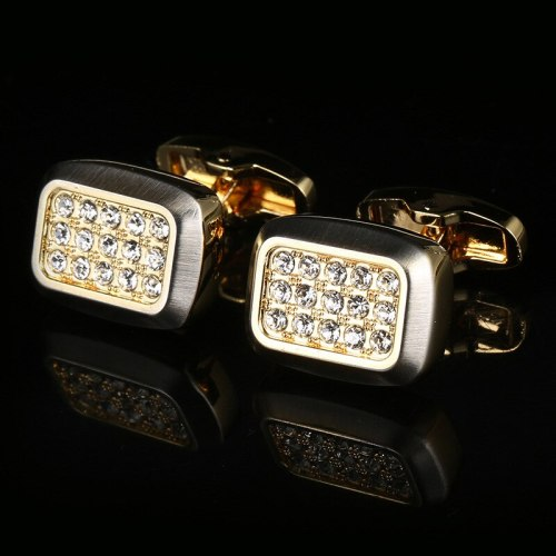 2 Pieces Men's Cufflinks Shirt Sleeve Button Fashion Imitation Rhinestone Enamel Fine Metal Decoration Geometric Casual Styling: geometricSize: 17 *