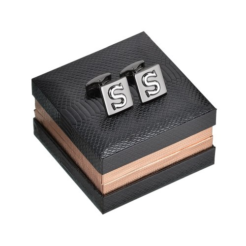 Men's Cufflinks Square Shape Letters Inlay Causal Business Cuff Buttons Fine