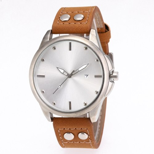 Men's Quartz Watch Fashion Business Round Dial Calendar Stainless Steel Mineral Glass Big Dial full pull-out: time Mineral Crysta Glass Vintage PU