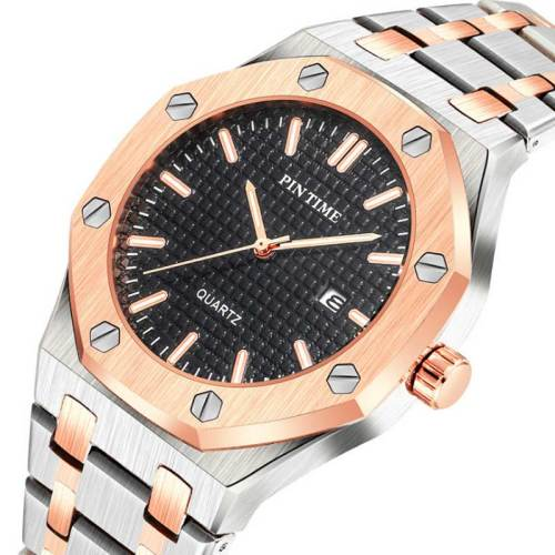 One Piece Men's Quartz Watch Fashion Simple Automatic Glow In Dark Water Proof Refined Steel Strap Alloy Scratch Resistant Geometric Rivet Stainless