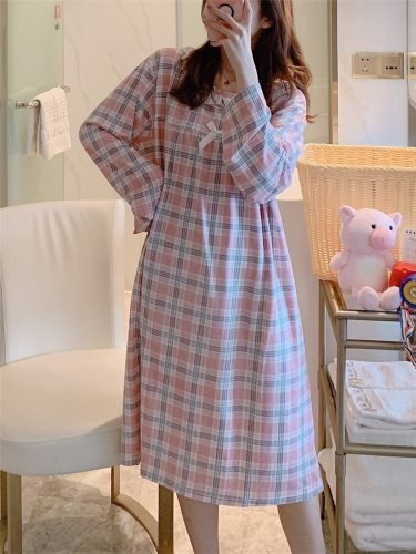 Big Girl's Sleep Dress Plaid Long Sleeve Bow Sweet Home Midi Casual Crew Neck Young Women