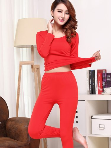 Women's Thermal Set Plus Size Pants Solid Color Thermal Long Sleeve Crew Neck Sweet Thin