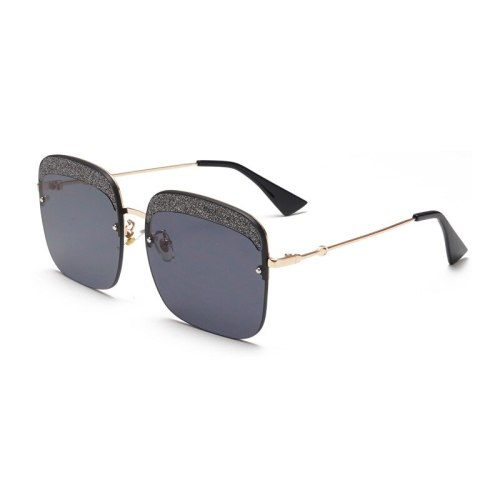 SAN VITALE Men's Sunglasses Square Metal Frame Sequins Decor Over Sized Eyeglasses Fashion Rimless Rivet Accessory Solid Color