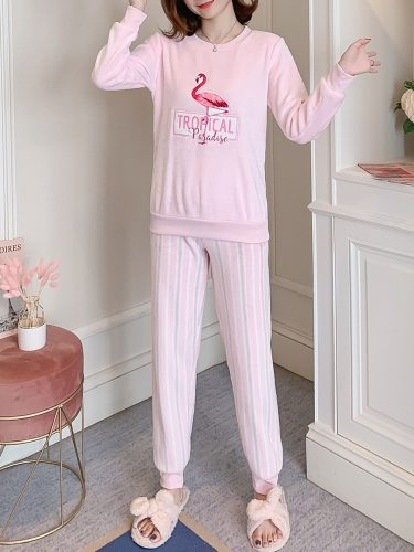 Women's Pajamas Set Flannel Cute Flamingo Home Pants Crew Neck Sweet Long Sleeve