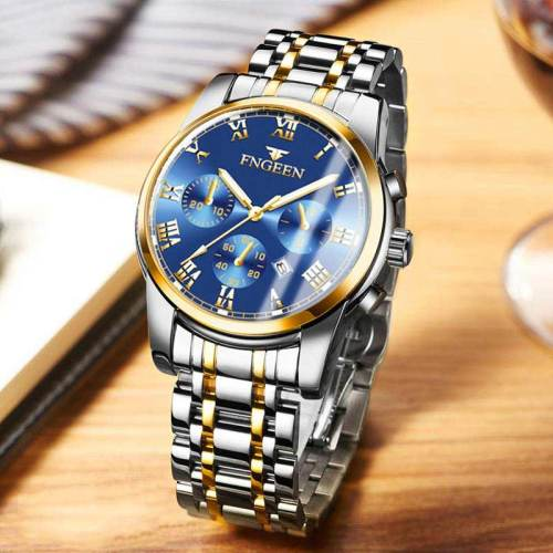 Men's Quartz Watch Fashion Glow In Dark Steel Strap Simple Stainless Steel