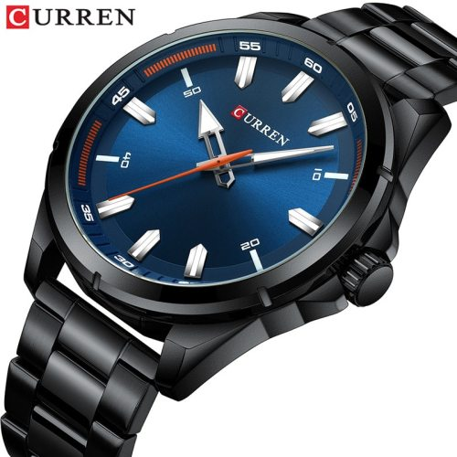 Curren Men's Quartz Watch Fashion Water Proof Steel Strap Simple Luminous Big Dial Stainless Steel Scratch Resistant Top Fashion