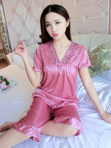 Women's Pajamas Set Cropped Pants Sleepwear Loose V Neck Sweet Short Sleeve