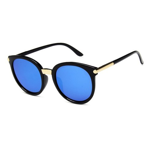 Men's UV Protection Round Frame Sunglasses Rivet Solid Color Sweet Fashion
