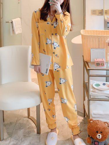 Women's Pajamas Set Comfy Casual Home Sweet V Neck Long Sleeve