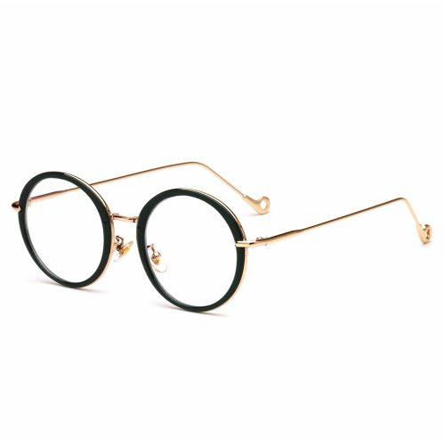 Men's Round Circle Vintage Style Plain Glasses Solid Color Fashion Eyeglasses Oversized Rivet Accessory