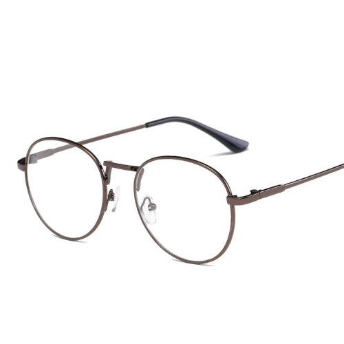 Men's Light Weight Metal Frame Plain Glasses Round Circle Fashion Rivet Accessory Sweet Solid Color Eyeglasses