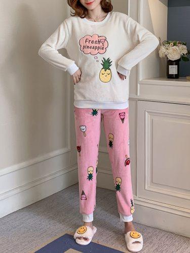 Women's 2Pcs Pajamas Set Cartoon Print Flannel Home Long Sleeve Crew Neck Sweet