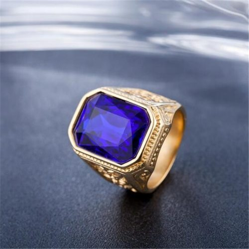 Rich Long Men's Retro Gemstone Inlaid Fashion Geometric Accessory fashion ring Casual Vintage Contrast Color