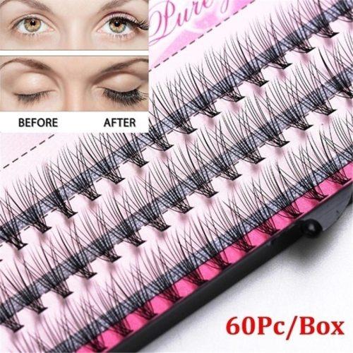 60 Pieces 3D Individual Artificial Lashes Strip Eyelashes Extension Tape Wimper Permanent Soft makeup salon Lengthening