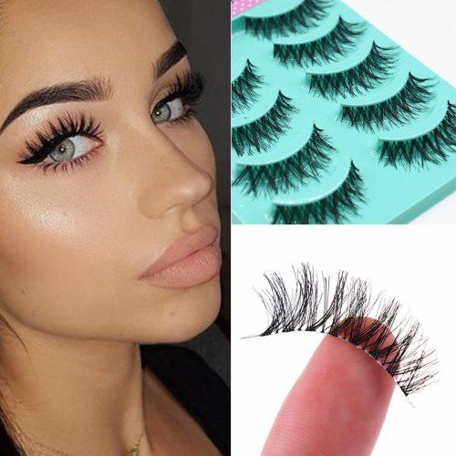 5 Pairs Natural Curly Artificial Eyelashes 3D Mink Hair Eyelash Eyelashe Type: Full Strip Lashes Eyelashe Length: 1cm-15cm Size: 1 box 5 pairs Craft: