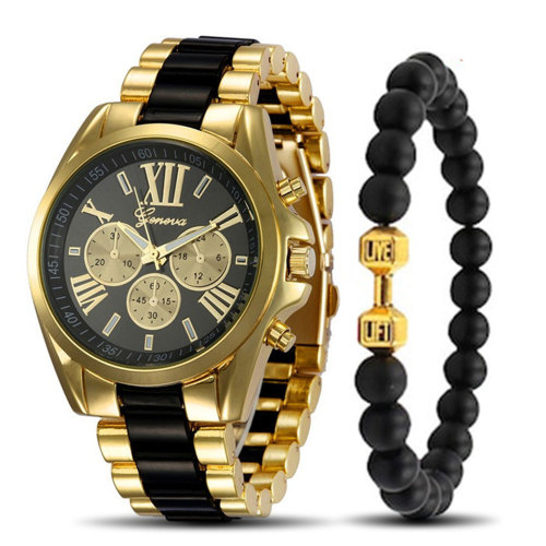 2 Pieces Men's Quartz Watch & Bracelet Set Fashion Steel Strap Simple 30M Waterproof Vintage Letter Alloy Big Dial Other Glass Stainless Steel